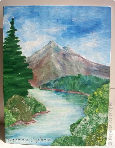 С детства меня восхищали пейзажи. давно хотела попробовать тоже что - нибудь подобное изобразить, и , вот, собралась и нарисовала такой : фото 1