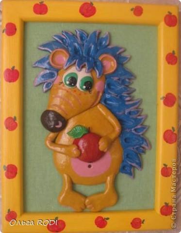 Картины для детской комнаты. Этого ёжика подглядела у Светлячка и К. Ну очень вдохновляют её работы, хочется перелепить всё!!! фото 1