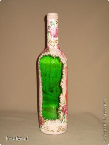 """Все бутылочки сделаны в подарок на 8 марта. Наберитесь терпения, покрутила всеми боками. Это бутылочка """"Орхидея"""". фото 11"""