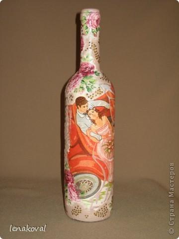 """Все бутылочки сделаны в подарок на 8 марта. Наберитесь терпения, покрутила всеми боками. Это бутылочка """"Орхидея"""". фото 12"""