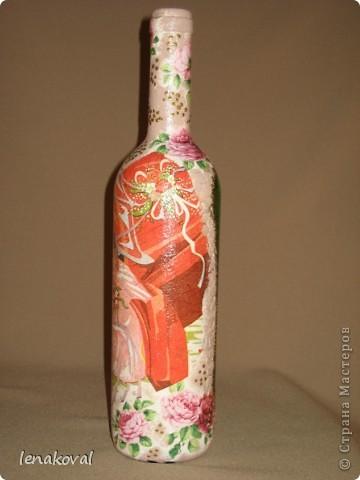 """Все бутылочки сделаны в подарок на 8 марта. Наберитесь терпения, покрутила всеми боками. Это бутылочка """"Орхидея"""". фото 13"""