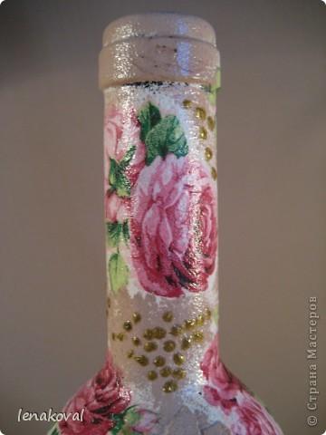 """Все бутылочки сделаны в подарок на 8 марта. Наберитесь терпения, покрутила всеми боками. Это бутылочка """"Орхидея"""". фото 16"""