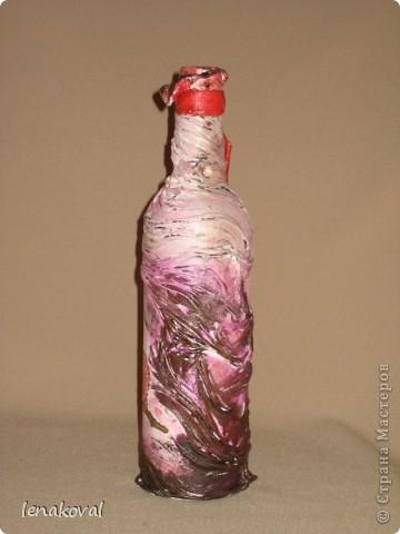 """Все бутылочки сделаны в подарок на 8 марта. Наберитесь терпения, покрутила всеми боками. Это бутылочка """"Орхидея"""". фото 2"""