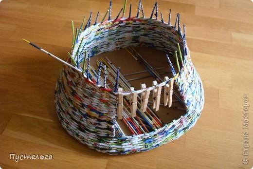 Мастер-класс Поделка изделие Плетение Котькин дом Бумага газетная фото 4