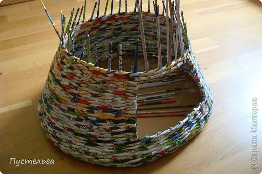 Мастер-класс Поделка изделие Плетение Котькин дом Бумага газетная фото 5