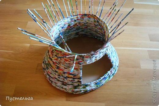 Мастер-класс Поделка изделие Плетение Котькин дом Бумага газетная фото 6