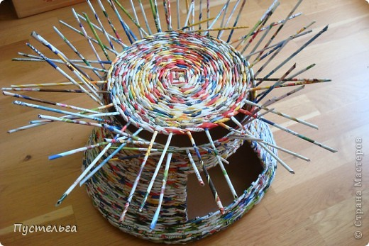 Мастер-класс Поделка изделие Плетение Котькин дом Бумага газетная фото 7