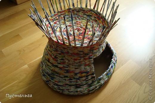 Мастер-класс Поделка изделие Плетение Котькин дом Бумага газетная фото 8