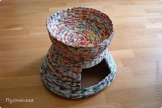 Мастер-класс Поделка изделие Плетение Котькин дом Бумага газетная фото 9