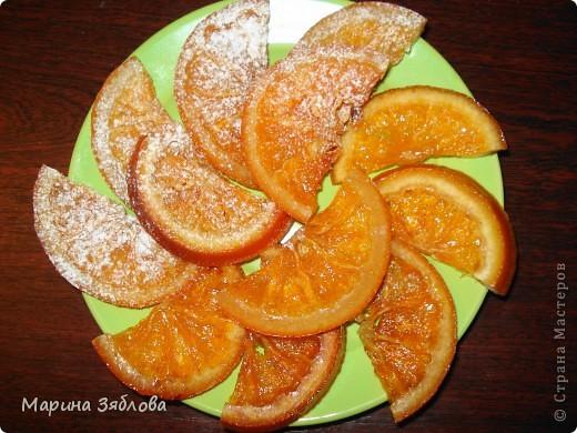 Для приготовления этого десерта на нужно : 4-6 апельсинов (в зависимости от размера) 600 гр сахара  300 мл воды  сахарная пудра фото 1