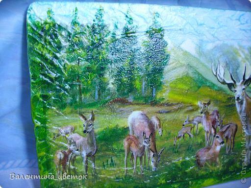 """Панно """"Олени"""". Материалы все те же, что и всегда, рельеф с использованием шпакрила, салфетка, подрисовка акриловыми красками, лак. фото 5"""