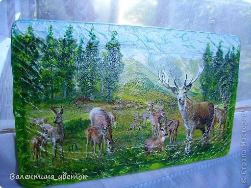 """Панно """"Олени"""". Материалы все те же, что и всегда, рельеф с использованием шпакрила, салфетка, подрисовка акриловыми красками, лак. фото 3"""