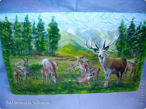 """Панно """"Олени"""". Материалы все те же, что и всегда, рельеф с использованием шпакрила, салфетка, подрисовка акриловыми красками, лак. фото 2"""