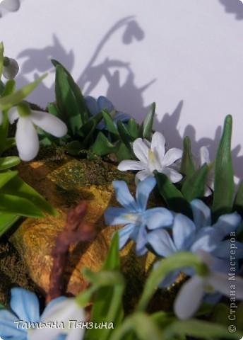 Вечер весенний... волшебный настой…  Композиция ручной работы, выполнена из полимерной глины modern clay, luna clay,  пластик самоотвердевающий Цернит Мрамор (Cernit marmot), светильник-ночник на батарейках. Светодиодные лампочки белого света. Кнопка включения замаскирована под веточку.  фото 2