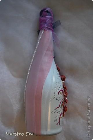 Здравствуйте! Наконец-то, выкладываю на ваш суд свои свадебные бутылочки и бокалы. Огромную благодарность хотела бы выразить Ксюше 25, за то что она передает свой бесценный опыт Стране мастеров. фото 5