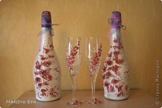 Здравствуйте! Наконец-то, выкладываю на ваш суд свои свадебные бутылочки и бокалы. Огромную благодарность хотела бы выразить Ксюше 25, за то что она передает свой бесценный опыт Стране мастеров. фото 1