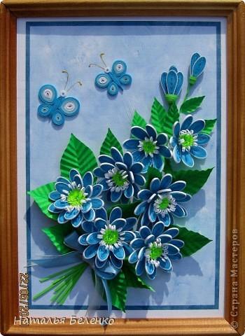 Здравствуйте, уважаемые жители Страны Мастеров!!! Представляю вашему вниманию цветочную композицию из голубых цветов. Размер работы 20*30 см.  фото 12