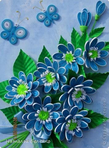 Здравствуйте, уважаемые жители Страны Мастеров!!! Представляю вашему вниманию цветочную композицию из голубых цветов. Размер работы 20*30 см.  фото 1