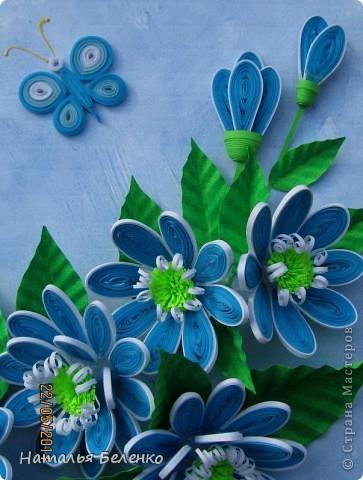 Здравствуйте, уважаемые жители Страны Мастеров!!! Представляю вашему вниманию цветочную композицию из голубых цветов. Размер работы 20*30 см.  фото 2