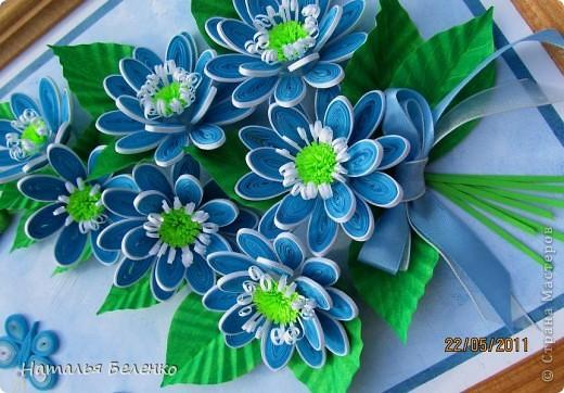 Здравствуйте, уважаемые жители Страны Мастеров!!! Представляю вашему вниманию цветочную композицию из голубых цветов. Размер работы 20*30 см.  фото 3