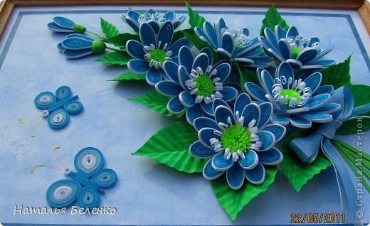 Здравствуйте, уважаемые жители Страны Мастеров!!! Представляю вашему вниманию цветочную композицию из голубых цветов. Размер работы 20*30 см.  фото 4