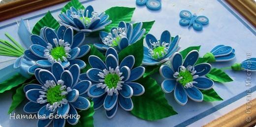 Картина панно рисунок Квиллинг Голубые цветы Бумага фото 5.