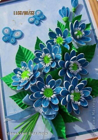 Здравствуйте, уважаемые жители Страны Мастеров!!! Представляю вашему вниманию цветочную композицию из голубых цветов. Размер работы 20*30 см.  фото 9