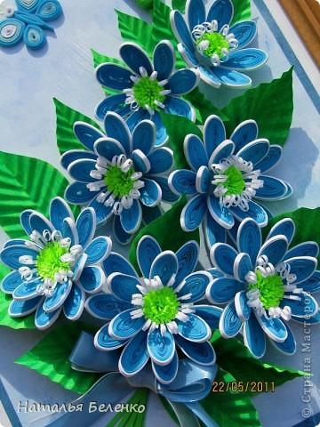 Здравствуйте, уважаемые жители Страны Мастеров!!! Представляю вашему вниманию цветочную композицию из голубых цветов. Размер работы 20*30 см.  фото 10
