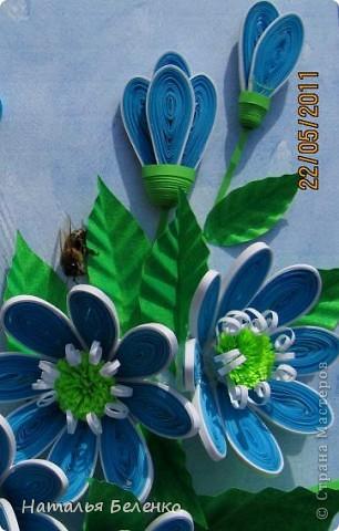Здравствуйте, уважаемые жители Страны Мастеров!!! Представляю вашему вниманию цветочную композицию из голубых цветов. Размер работы 20*30 см.  фото 11