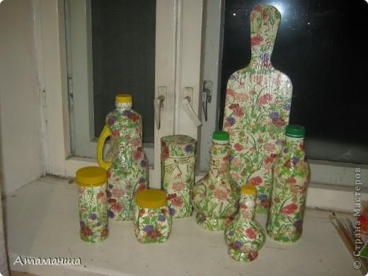 Такой набор я сделала себе для кухни, пользуюсь всеми баночками и бутылочками.
