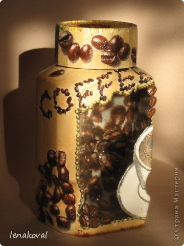 Вот и продолжение... Подруга захотела кофейную баночку, но чтобы на ней были подсолнухи (очень они ей на моих бутылочках и баночках понравились). фото 3