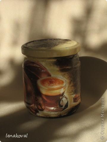 Вот и продолжение... Подруга захотела кофейную баночку, но чтобы на ней были подсолнухи (очень они ей на моих бутылочках и баночках понравились). фото 11
