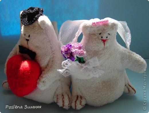 Коты-молодожёны сшиты из белого флиса. фото 2