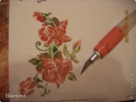 Нужны были розы -  залезла в интернет, набрала в поисковике -шаблоны, выбрала нужный рисунок, распечатала на принтере. ( идею подсмотрела у Настиной бабушки) фото 4