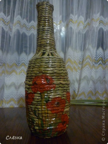 Оплетенная бутылка, декупаж фото 1