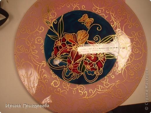Витражная роспись тарелки.Бабочки. фото 1