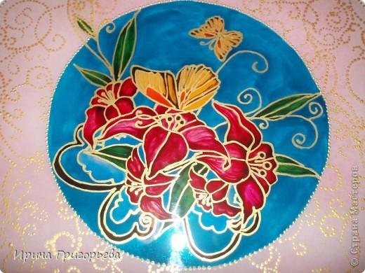Витражная роспись тарелки.Бабочки. фото 3