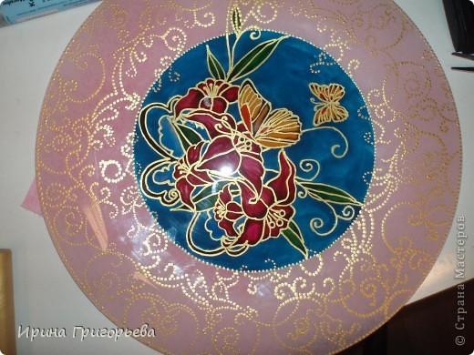 Витражная роспись тарелки.Бабочки. фото 2