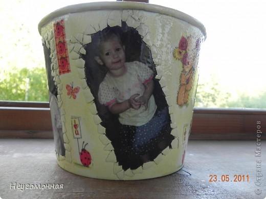 Коллега по работе попросила задекупировать банку из под поп-корна, в которой она держит кубики своей дочки. Вот что у меня вышло. фото 1