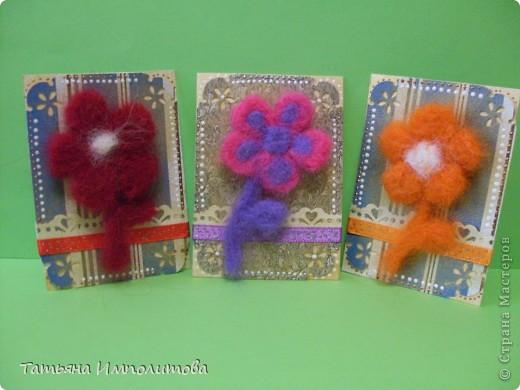 Цветы(из шерсти) фото 2