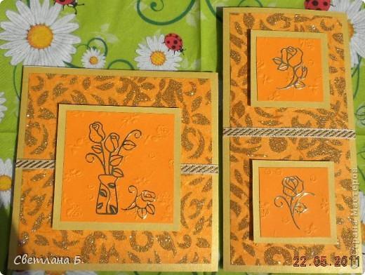 Вот такая получилась у меня открыточка. Идею позаимствовала у Александры  k.aktus  http://stranamasterov.ru/node/168633 В уголках золотые наклейки, ажурная  салфетка - подарок Таи Орловой. фото 7