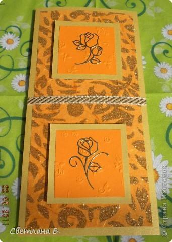 Вот такая получилась у меня открыточка. Идею позаимствовала у Александры  k.aktus  http://stranamasterov.ru/node/168633 В уголках золотые наклейки, ажурная  салфетка - подарок Таи Орловой. фото 6