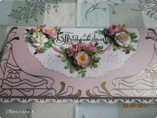 Вот такая получилась у меня открыточка. Идею позаимствовала у Александры  k.aktus  http://stranamasterov.ru/node/168633 В уголках золотые наклейки, ажурная  салфетка - подарок Таи Орловой. фото 4