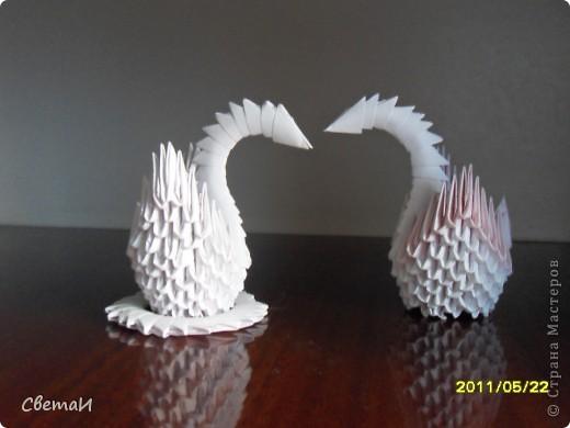 """Иногда я пробую изготовить поделки в разной технике. Вот, что получилось... """"Лебеди"""" (оригами модульное). фото 1"""