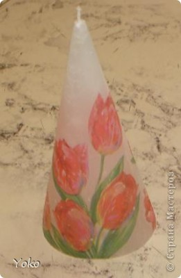 Третья моя свеча. Первый раз попробовала тенику - декупаж.  фото 7