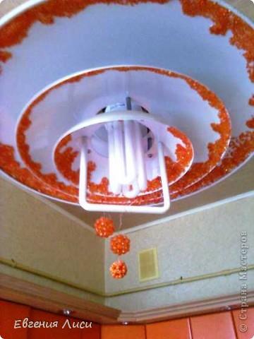 Декор готовой люстры бисером, стеклярусом, бусинками после ремонта на кухне. Блестит!!! фото 2