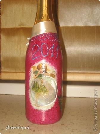 Мои первые бутылки декупажики фото 2