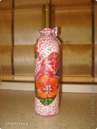 Мои первые бутылки декупажики фото 4