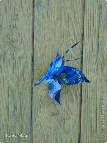 """Вот такие бабочки уселись на нашем дачном """"жёлтом домике"""".  Вырезаны из жестяной банки из-под пива.  фото 4"""