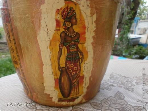 Гортензия голубая , ну очень красивая.. А кашпо с африканскими знойными женщинами., тоже симпатичными. фото 4